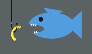 Fisch frisst Wurm