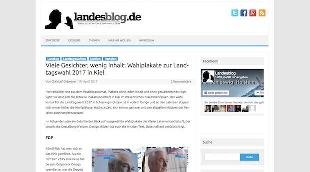 Screenshot des Landesblog über Wahlplakate