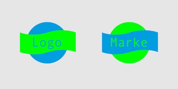 Farblich komplementäre Darstellung von Logo und Marke
